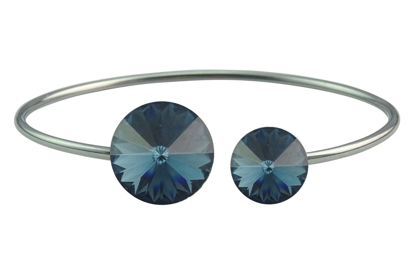 Armreif,Armband aus Edelstahl mit 2 Swarovski® Kristallen,montana,dunkelblau