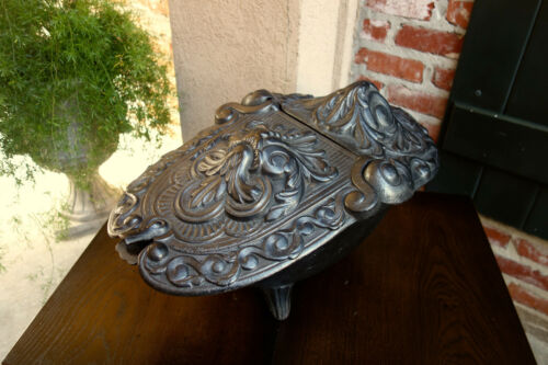 Antique French Gothic Victorian Cast Iron Fireplace Hearth Coal Hod Black Holder