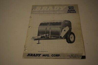 Brady Ms141 Manure Spreader Parts And Operational Manual
