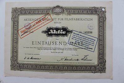29405 Aktie 1000 Reichsmark  AG für Film Fabrikationen Berlin 1921