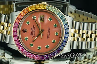 Rolex Men's Watch Datejust Two-Tone 36mm Salmon Emerald Dial Rainbow Bezel