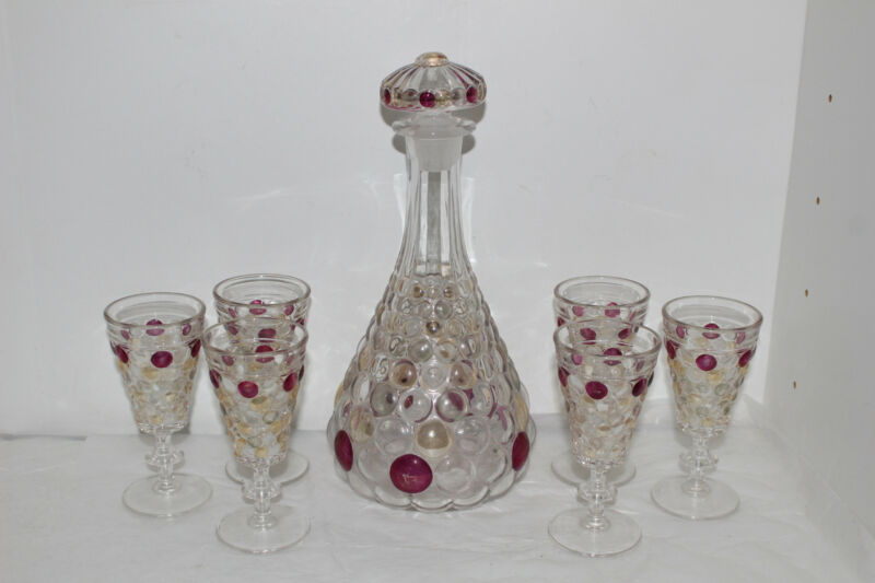 VERY RARE VINTAGE WESTMORELAND GLASS THOUSAND EYE FLASHED DECANTER & 6 GOBLETS