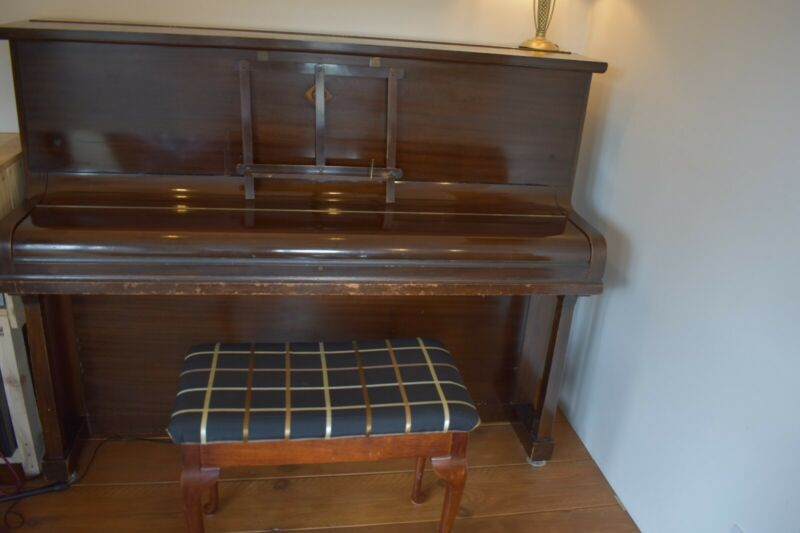 Challen Upright Piano Gloss Mahogany Finish Overstrung Underdamped