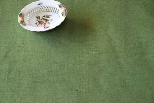 "Antique French 19thC Green Raw Silk Fabric Yardage~Good Quality~L-95"" X W-51"""