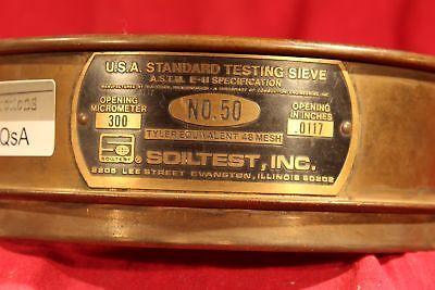 U.s.a Standard 8 Test Sieve A.s.t.m.e. 300 Micrometer.0117 Soiltest 50