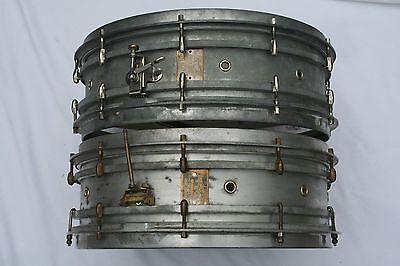 Slingerland and Eugene Geisler Vintage Cast Aluminum Snare Drums! (1920s) TWO!
