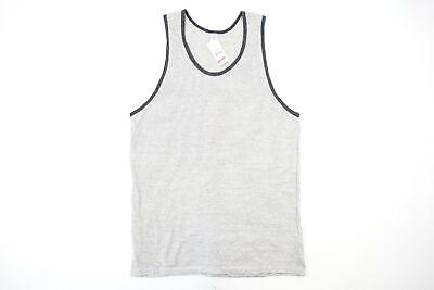 Alternative Apparel Rayas Gris Carbón Grande Camiseta de Tirantes Suave Elástico