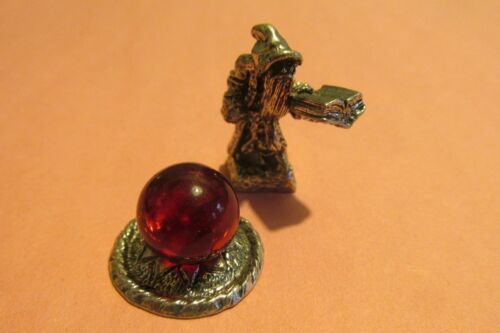 Finely Detailed Pewter  Wizard Figurine With Spell Book And Crystal Ball