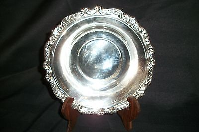 "VINTAGE 7-1/2"" SILVER PLATE BOWL~DISH~ EMBOSSED DESIGN EDGE"