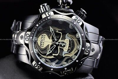 Invicta 52mm Reserve Venom Skull Swiss Chrono Black Titanium Two Tone SS Watch