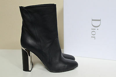 New sz 10.5 / 41 Christian Dior Marine Navy Blue Leather Ankle Boot Bootie Shoes