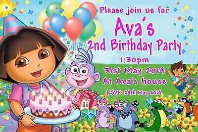Dora the Explorer Cute Kid's Personalised Birthday Invitations U Print & Save! ()
