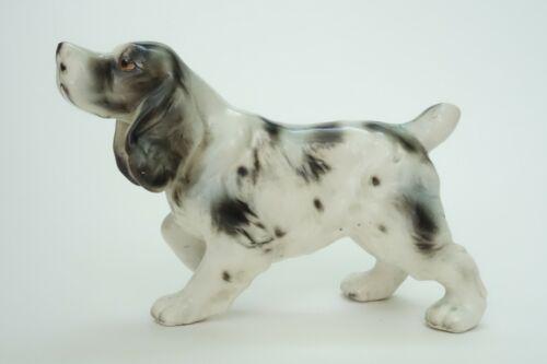 VINTAGE ENGLISH SPRINGER SPANIEL DOG FIGURINE PORCELAIN BLACK & WHITE