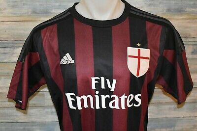 adidas CLIMACOOL FLY EMIRATES AC MILAN Men's S/S Polyester Soccer Shirt Size LG