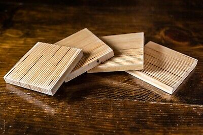 Homemade DIY Wood Drink Coasters Hardwood Birch Plywood Strips One of a Kind