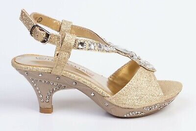 Girls Toddlers Flower Girl, Party Gold Glitter & Rhinestones Shoes 10,11,12. (Girls Gold Party Shoes)