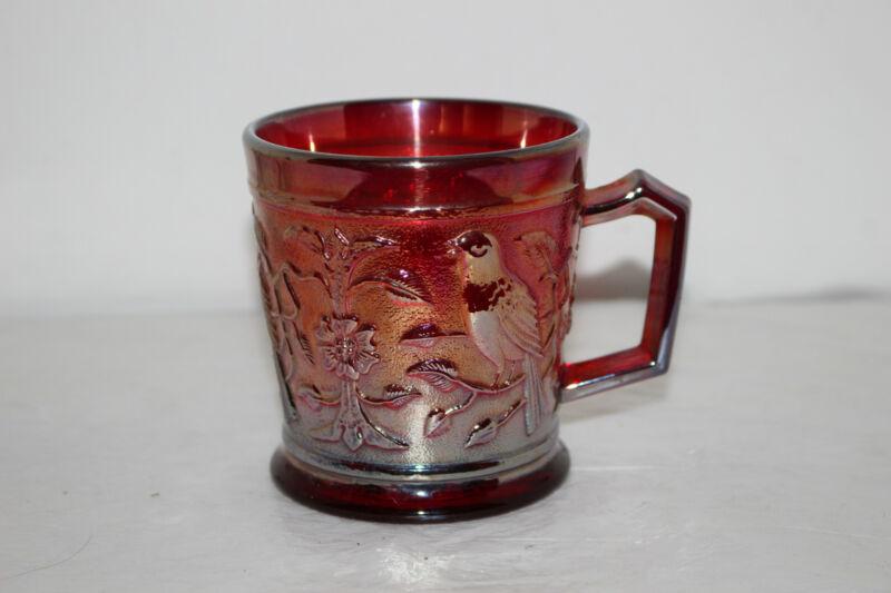 "VINTAGE IMPERIAL RED CARNIVAL GLASS 3.5"" MUG-ROBIN/BIRD-SIGNED"