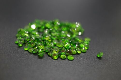 1.5ct Genuine Loose Chrome Diopside Round Cut Green 3.5mm 10pcs