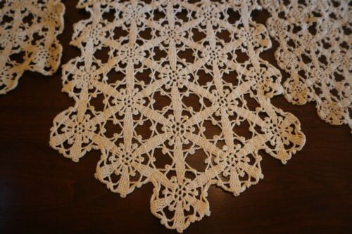 Lot of 3 Vintage Hand Crocheted Dresser Scarf Table Runner Flower Design, Cotton