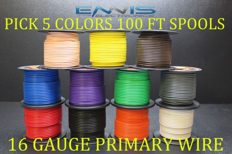16 GAUGE WIRE ENNIS ELECTRONICS 100 FT EA PRIMARY CABLE AWG COPPER CLAD 5 ROLLS
