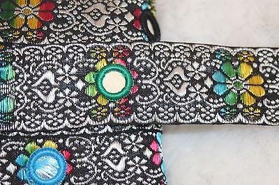 (1 yard Black White rainbow Indian Sequin Sari Ribbon Jacquard Mirror trim 1.25