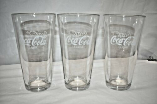 Coca Cola Clear Thick Glass 24 oz Tumblers Lot of 3
