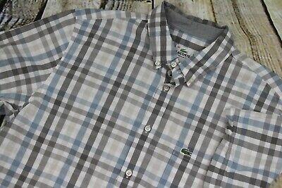 Lacoste Shirt Button Up Front Blue Gray Plaid Men's Size L Large Euro 42