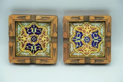 2 Dal Tile Mexico Ceramic Tile & Carved Wood Trivet/Coaster/Wall Hanging