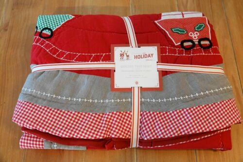 "New Pottery Barn Kids QUILTED SANTA TRAIN Christmas Tree Skirt  - 54"""