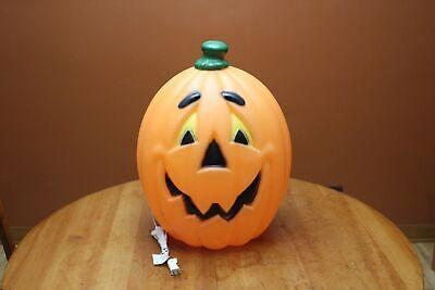 "23"" Lighted Blow Mold Pumpkin Black Eyebrows & Yellow Eyes General Foam Plastics"