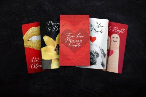 True Love Messages Oracle Card Deck, Black Velvet Bag, Rose Quartz, Lovers Tarot