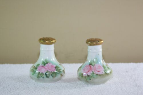 Antique Vintage Bavarian Pink Roses Salt Pepper Shakers Gold Painted Top Corked