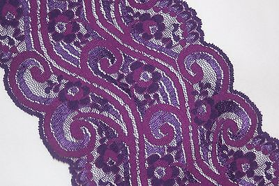 "1 yard light dark Purple Grape galloon scalloped STRETCH trim lace 5"" wide"