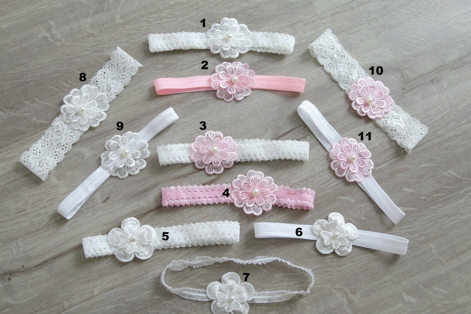 Baby Stirnband Taufe Haarband Kopfband festlich süß niedlich