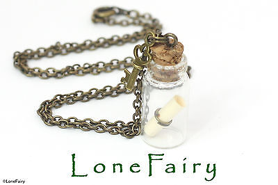 Message in a Bottle Key Charm Bronze Plated Chain necklace cork scroll Steampunk ()