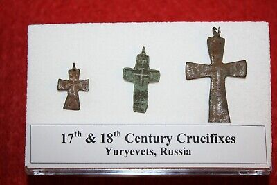 17th 18th century post medieval Crucifix cross collection display case Russia #1