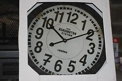 NEW KENSINGTON STATION Wall Clock Rustic With Metal Frame Approx 15 By 15