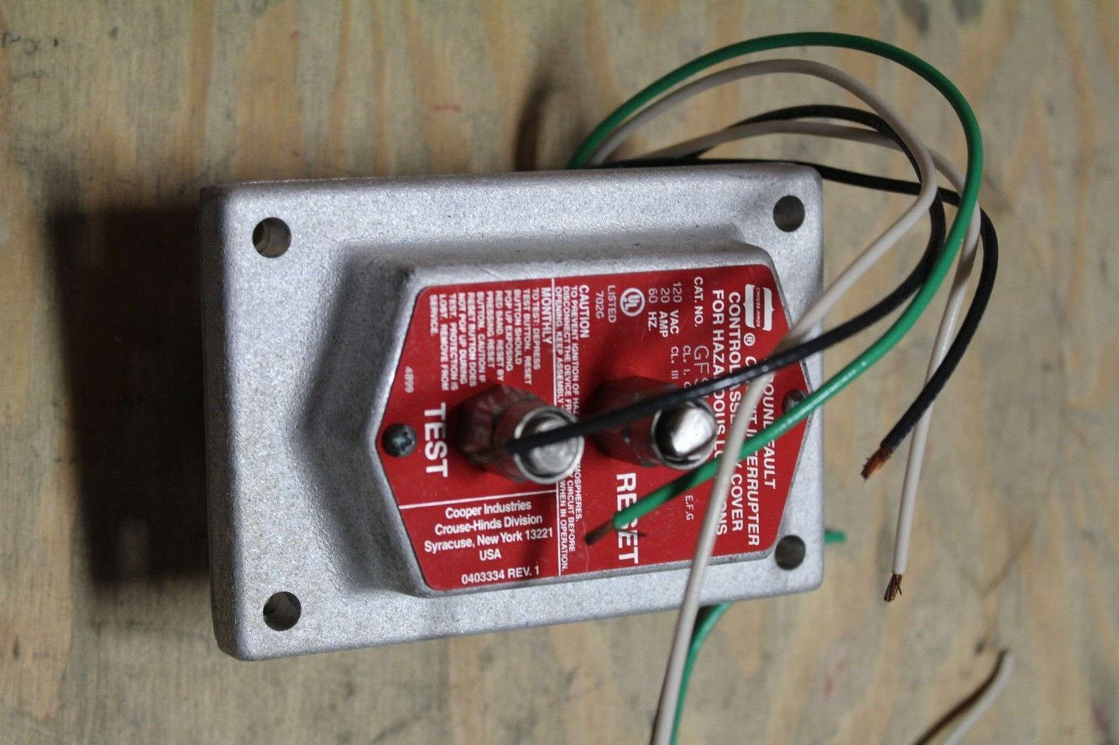 Crouse Hinds Gfs1 Circuit Interrupter Grounded Fault 120vac Ebay An Overview Of Gfci Groundfault Eep Stock Photo