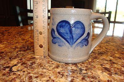 Rowe Pottery Works 1992 cobalt blue heart mug salt glaze