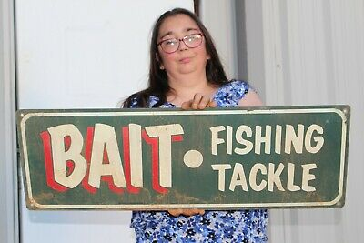 """Vintage Bait Fishing Tackle Minnows Worms Rod Reel Lure Gas Oil 32"""" Metal Sign"""
