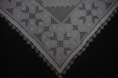 Vintage silk Table Mat Embroidery Scandinavian 64 cm x 64 cm (57)