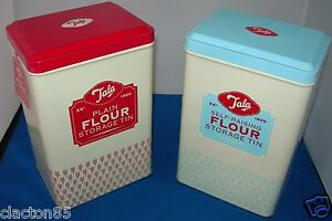 TALA RETRO VINTAGE 1950s FLOUR CONTAINER CANISTER STORAGE TINS SET OF 2