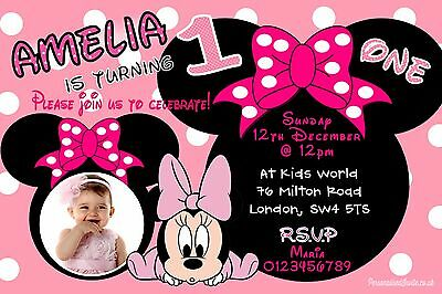 Baby Minnie Mouse Girls Birthday Party Invitations 10 Personalised Photo - Minnie Mouse Photo Invitations