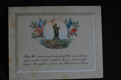 1918 Christmas Card Statue of Liberty * AEF YMCA