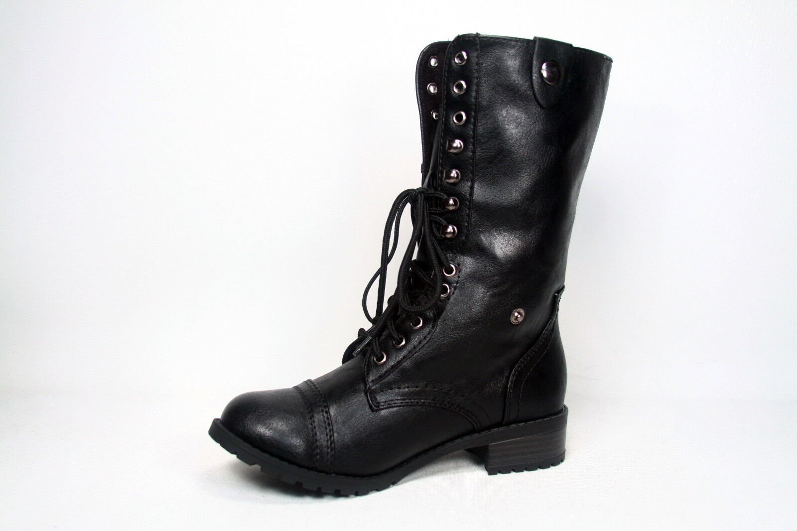Soda Lace Up Low Heel Round Toe Foldable Military Combat Mid Calf Women's Boot
