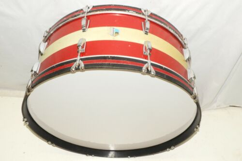 """Vintage Ludwig Red and Silver Sparkle 28"""" Bass Drum Blue Olive # 889580"""
