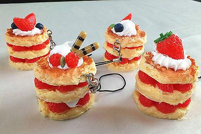 4 MIX 4cm PANCAKE CAKE DONUT PHONE CHARM KEYRING HANDBAG birthday PARTY GIFT