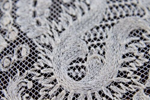 Vtg Antique White Cotton Tambour Lace Wedding Bridal Handkerchief LG 1800