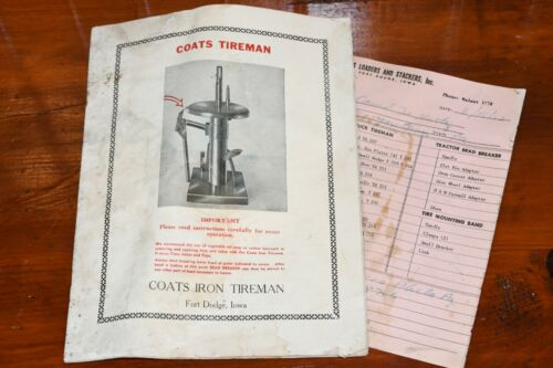 Vtg 1950s COATS IRON TIREMAN Brochure Manual Part Numbers Prices Catalog