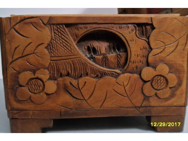 YU TING GOOD LUCK CHEST, ANTIQUE WOODEN HAND CARVED LOCKING HONG KONG